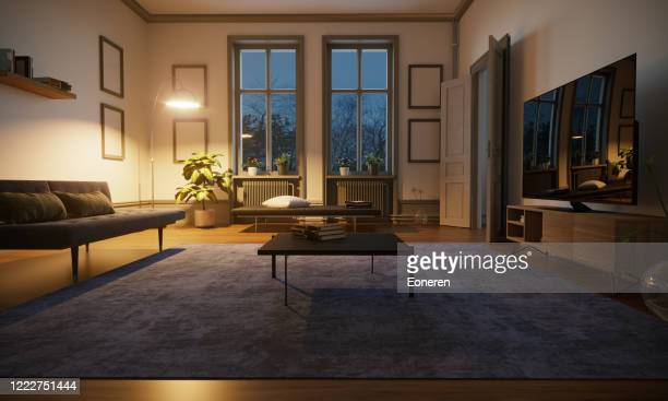 scandinavian style living room interior - cosy stock pictures, royalty-free photos & images