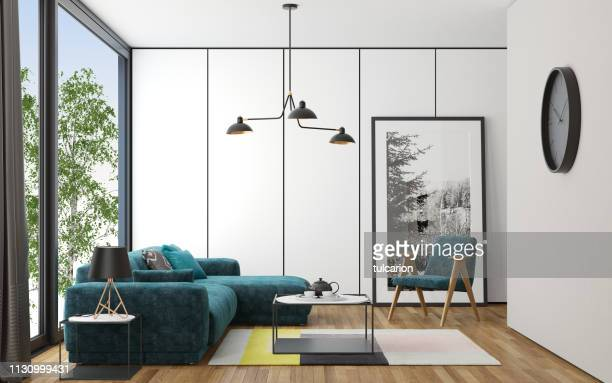 scandinavian style living room - northern europe stock pictures, royalty-free photos & images