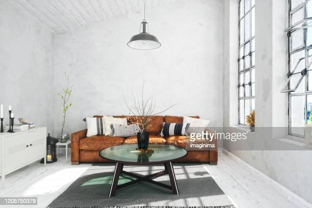 scandinavian style living room - scandinavian culture stock pictures, royalty-free photos & images