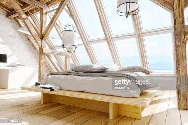 Scandinavian Style Loft Bedroom Interior