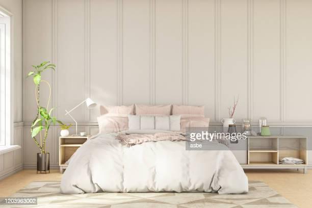 interior do quarto vazio estilo escandinavo - quarto de dormir - fotografias e filmes do acervo