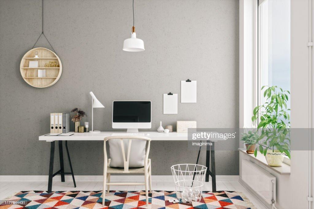 Scandinavian Style Modern Home Office Interior : Stock Photo