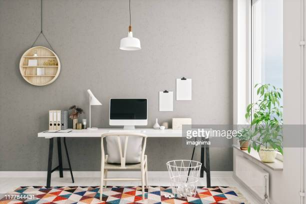 scandinavian style modern home office interior - working from home stock pictures, royalty-free photos & images