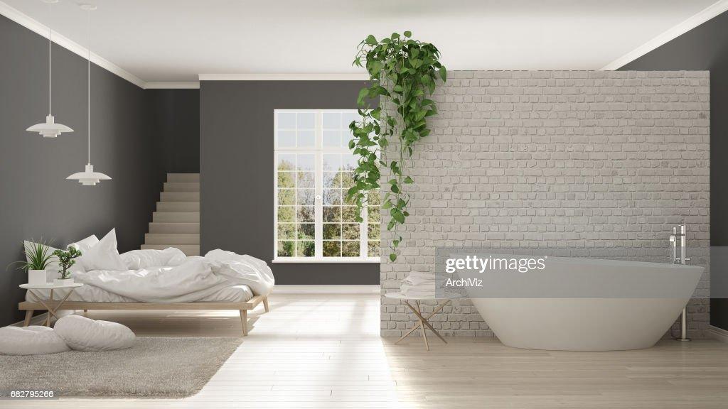 Scandinave Minimaliste Blanc Salle De Bain Et Chambre À ...