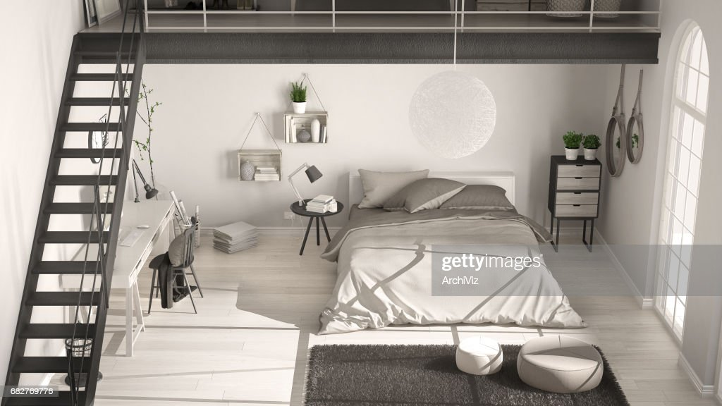 scandinavian white minimalist loft bedroom top view classic interior design stock photo bed view22 white