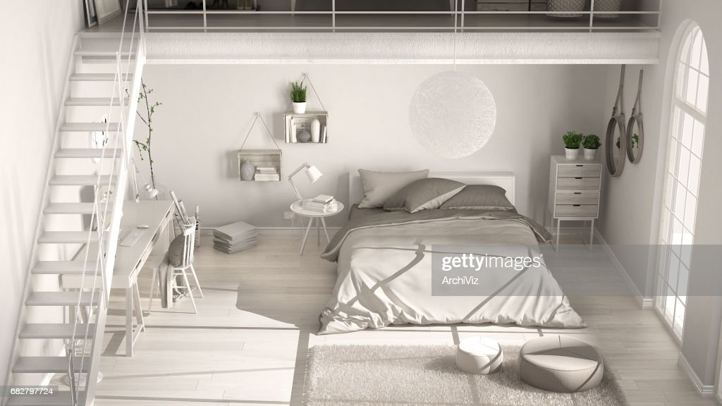 Scandinavian White Minimalist Loft Bedroom, Top View, Classic Interior  Design : Stock Foto