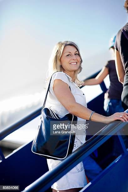 A Scandinavian woman in an airport.