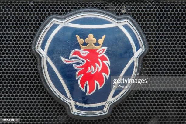 Scania logo is seen in Gdansk Poland on 22 March 2018 Since the April 1st 2018 City of Gdansk implements a new waste segregation system divided into...