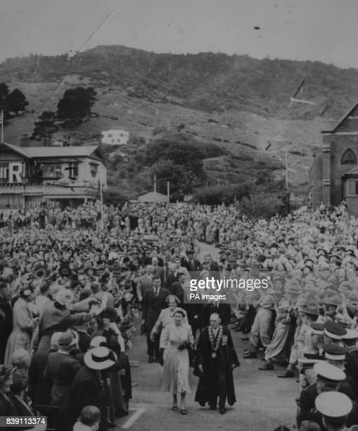 **Scanned lowres from contact** The people of Greymouth New Zealand welcoming the Queen and the Duke of Edinburgh to their town