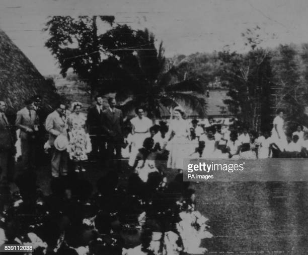 **Scanned lowres from contact** The Queen meeting Fijian teachers at Adi Cakabau girls' shcool near Suva during her visit to Fiji with the Duke of...