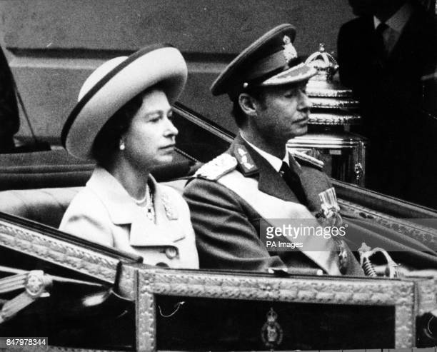 *Scanned lowres from print highres available on request* Queen Elizabeth II with Prince Jean Grand Duke of Luxembourg in an open carriage as they...