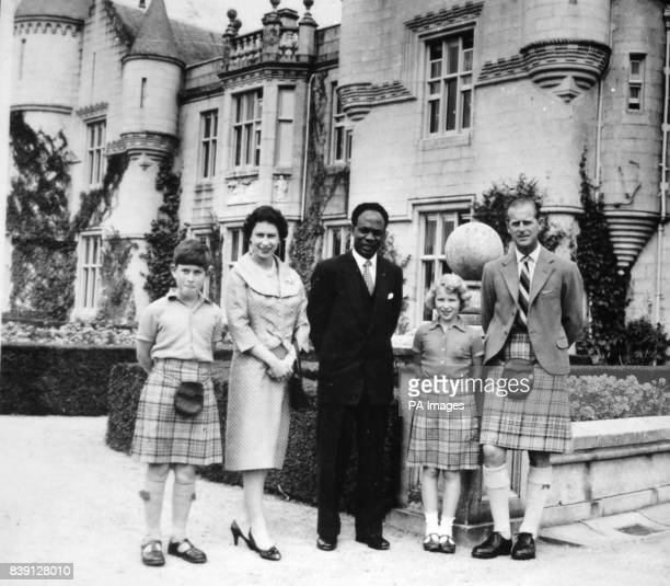 **Scanned lowres off contact** Dr Kwame Nkrumah Prime Minister of Ghana with Queen Elizabeth II Duke of Edinburgh Prince Charles and Princess Anne at...