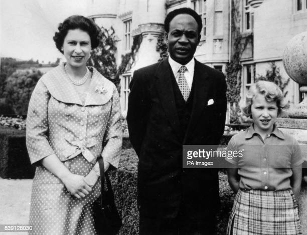 **Scanned lowres off contact** Dr Kwame Nkrumah Prime Minister of Ghana with Queen Elizabeth II and Princess Anne at Balmoral Castle