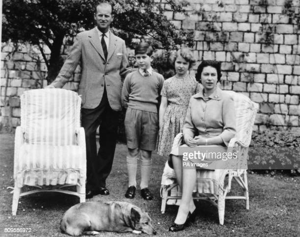 **Scanned lowres off contact** Queen Elizabeth II and the Duke of Edinburgh with their two children the Prince of Wales and Princess Anne at Windsor...