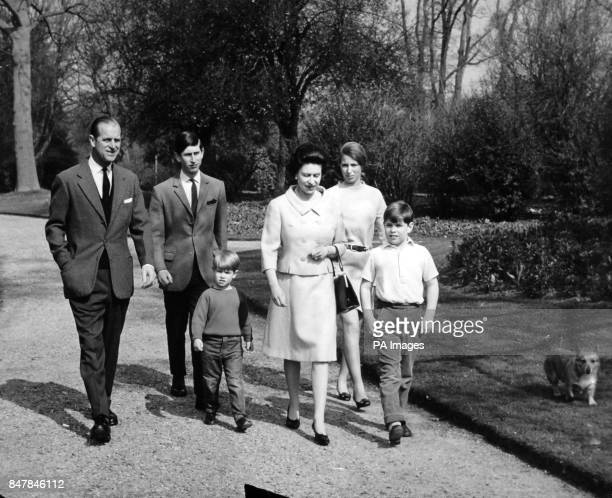 *Scanned lowres off print high res available on request* The Royal Family in the grounds of Frogmore House Windsor From left The Duke of Edinburgh...