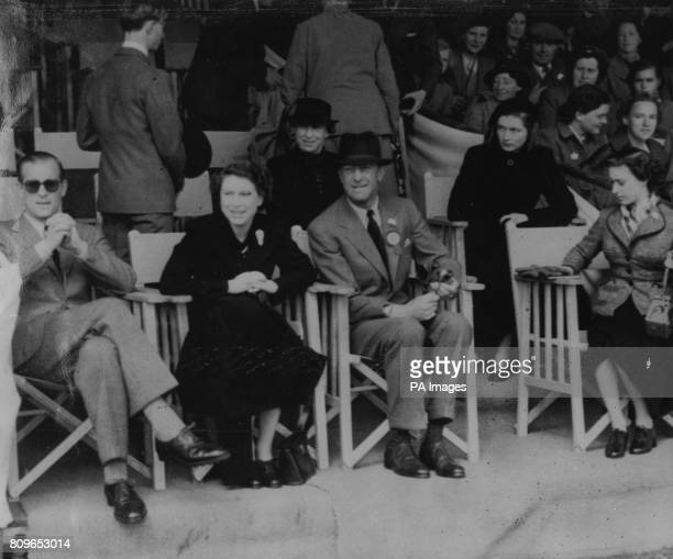 *Scanned off print* Queen Elizabeth II with the Duke of Edinburgh left the Duke of Beaufort and Princess Margaret at the Olympic Horse Trials at...