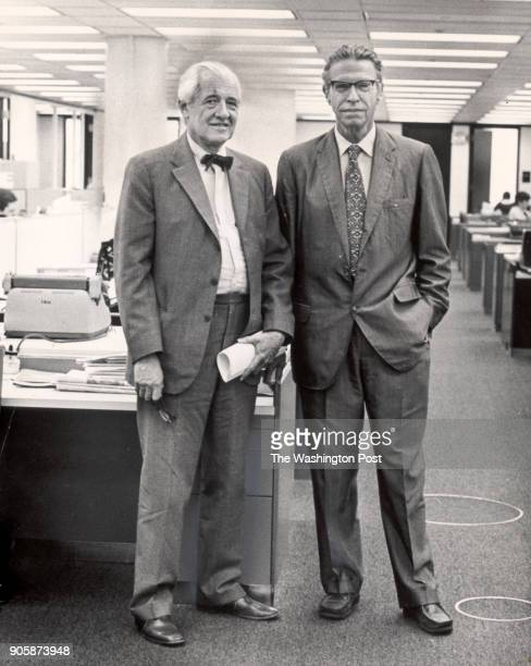 Scanned Prints CREDIT Washington Post File Photo CAPTION May 13 1973 Alfred Friendly and Chalmers Roberts in the Washington Post newsroom StaffPhoto...