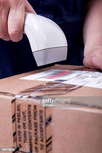 scanning parcel - labeling stock photos and pictures