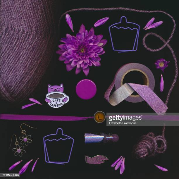 Scanograph image of a collection of purple objects