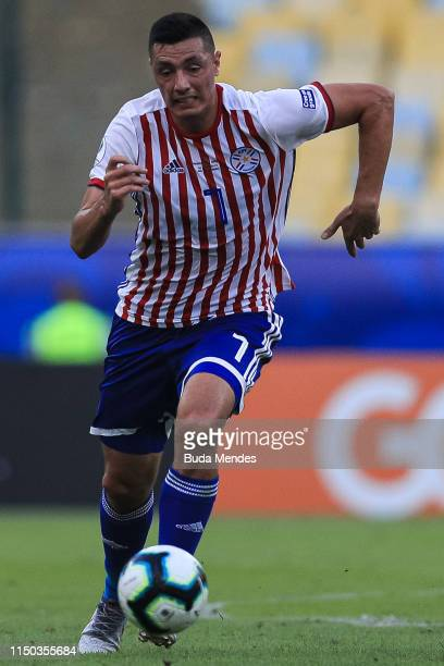 Óscar Cardozo of Paraguay controls the ball during the Copa America Brazil 2019 group B match between Paraguay and Qatar at Maracana Stadium on June...