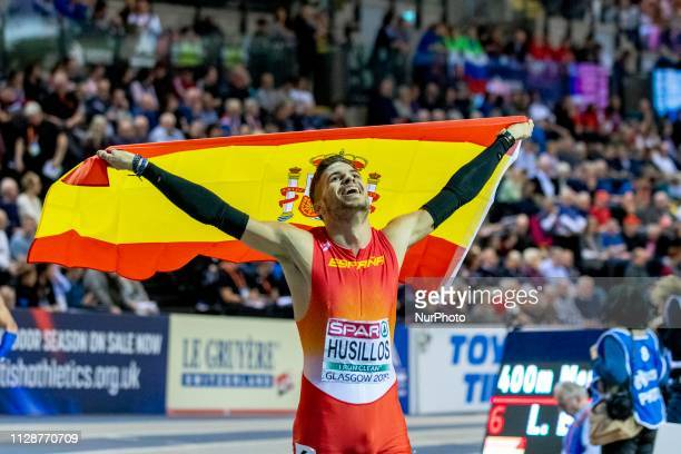 HUSILLOS scar ESP competing in the 400m Men Final event during day TWO of the European Athletics Indoor Championships 2019 at Emirates Arena in...