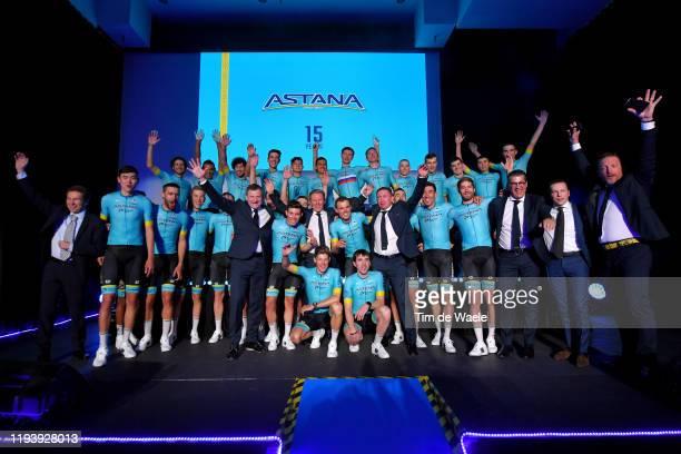 Óscar Rodríguez Garaicoechea of Spain and Astana Pro Team / Zhandos Bizhigitov of Kazakhstan and Astana Pro Team / Davide Martinelli of Italy and...