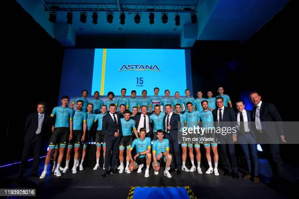 Óscar Rodríguez Garaicoechea of Spain and Astana Pro Team / Zhandos Bizhigitov of Kazakhstan and Astana Pro Team / Davide Martinelli of Italy and...