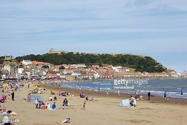 scarborough beach - scarborough uk stock pictures, royalty-free photos & images