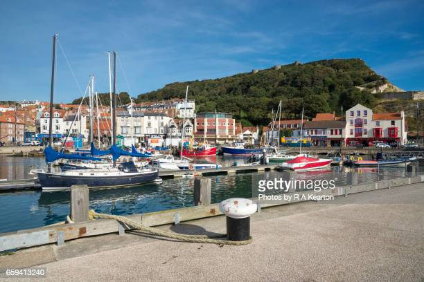 scarborough harbour, north yorkshire, england - scarborough uk stock photos and pictures