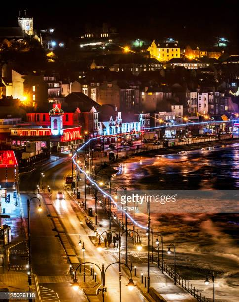 scarborough seafront at night in winter - scarborough uk stock pictures, royalty-free photos & images