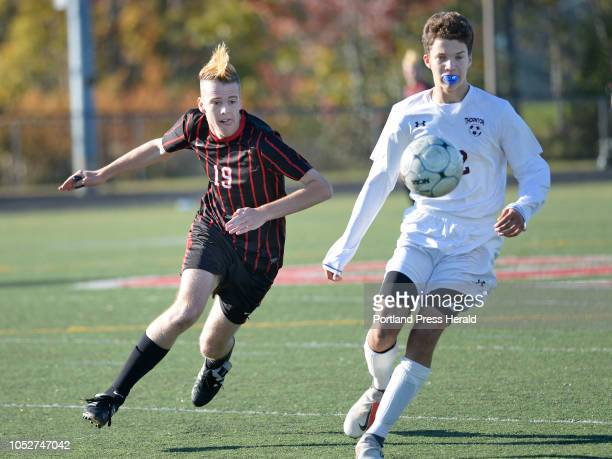 Scarborough's Daniel Travers and Thornton Academy's Cody Bowker battle for the ball Friday October 19 2018