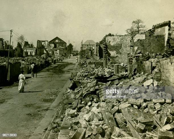 Scarce a wall left standing after complete demolition of the business blocks in Kingston Jamaica by the earthquake of January 14 1907 Photo taken by...