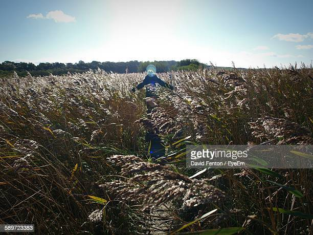 Scarecrow Amidst Grassy Field Against Sky