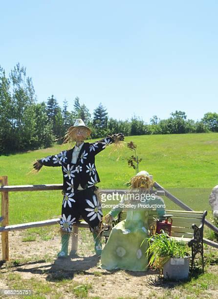 scarecrow couple - scarecrow faces stock photos and pictures