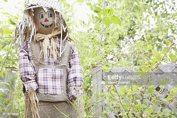 scarecrow in garden - scarecrow faces stock photos and pictures
