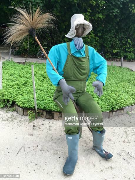 scarecrow on field against trees - scarecrow faces stock photos and pictures