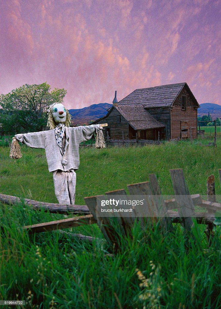 Scarecrow On Rustic Farm Stock Photo