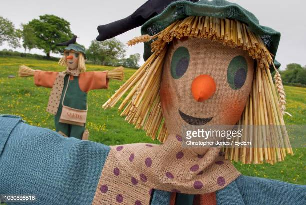 scarecrows on field - scarecrow agricultural equipment stock photos and pictures