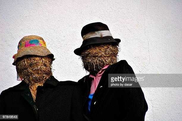 scarecrows - scarecrow agricultural equipment stock photos and pictures