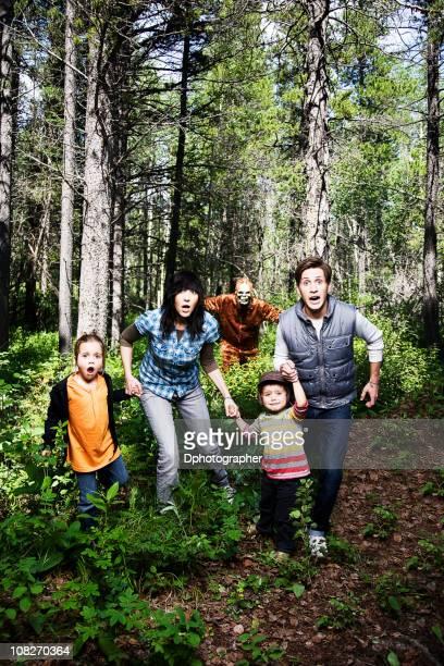 Scared Family Running Away