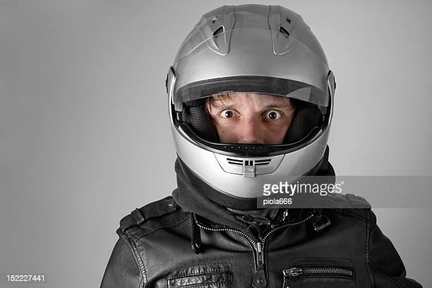 Scared Motorbike Rider with Helmet