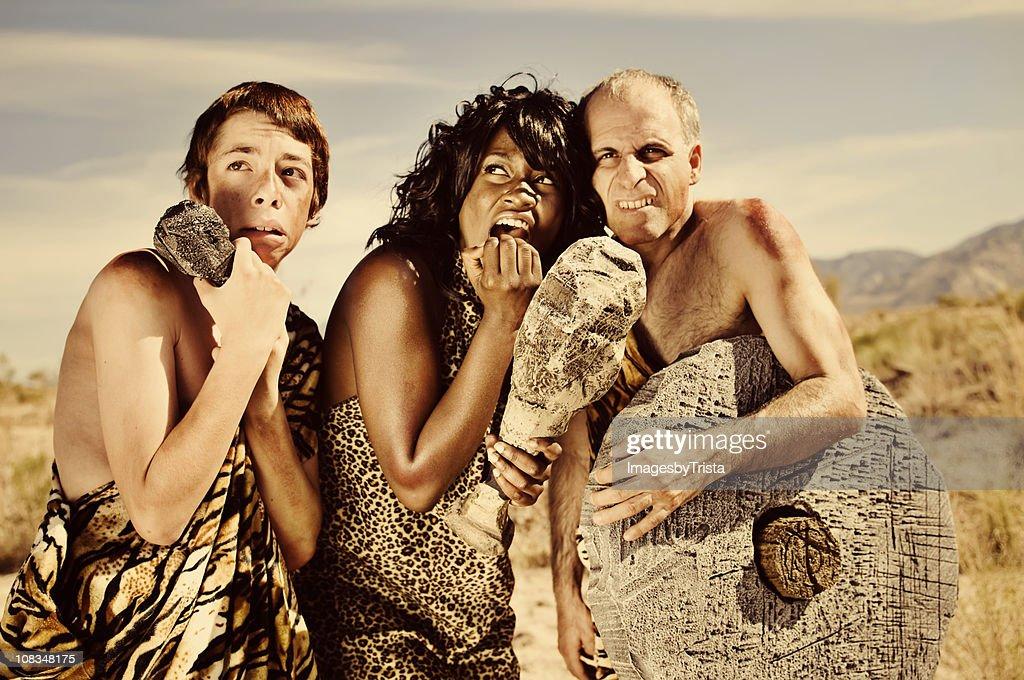 Scared Prehistoric Cavemen : Stock Photo