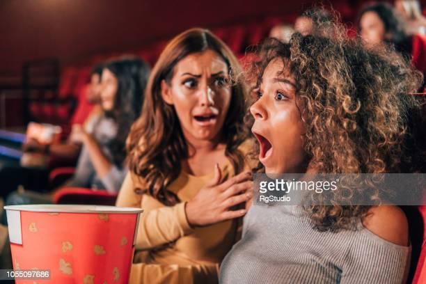 Scared women at cinema