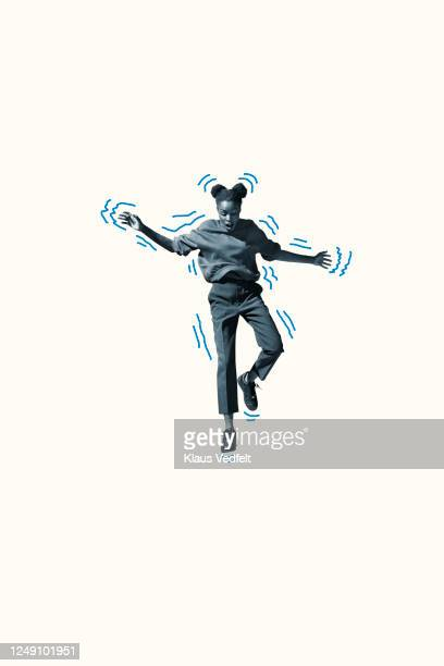 scared young woman falling with blue outline - graphic accident photos stock pictures, royalty-free photos & images