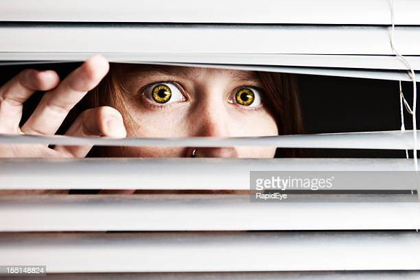 Scared young woman looks wide-eyed through venetian blinds