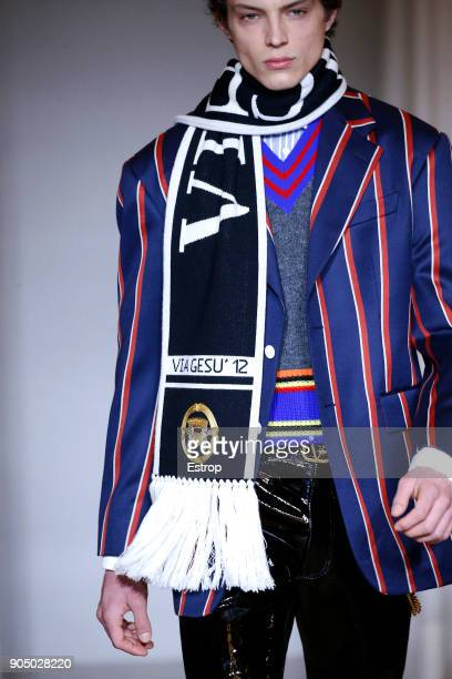 Scarf detail at the Versace show during Milan Men's Fashion Week Fall/Winter 2018/19 on January 13 2018 in Milan Italy