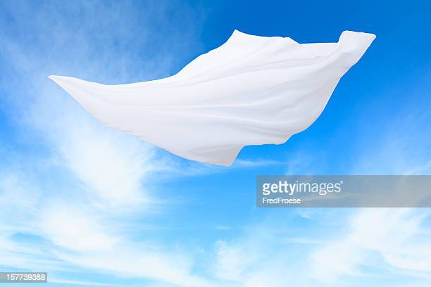 scarf in the wind - white satin stock photos and pictures