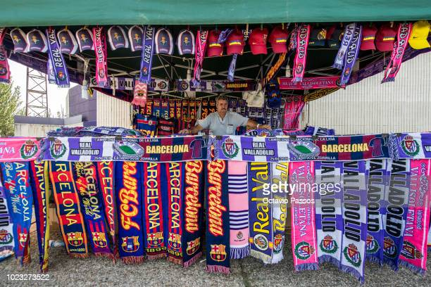 A scarf salesman outside the stadium prior the La Liga match between Real Valladolid CF and FC Barcelona at Jose Zorrilla on August 25 2018 in...