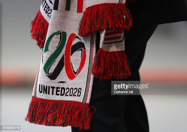 A scarf showing the United 2026 logo during the 68th FIFA Congress on June 13 2018 in Moscow Russia