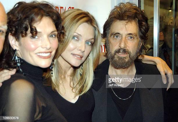 Scarface cast members Mary Elizabeth Mastrantonio Michelle Pfeiffer and Al Pacino reunite at the 20th Anniversary premiere event celebrating the...